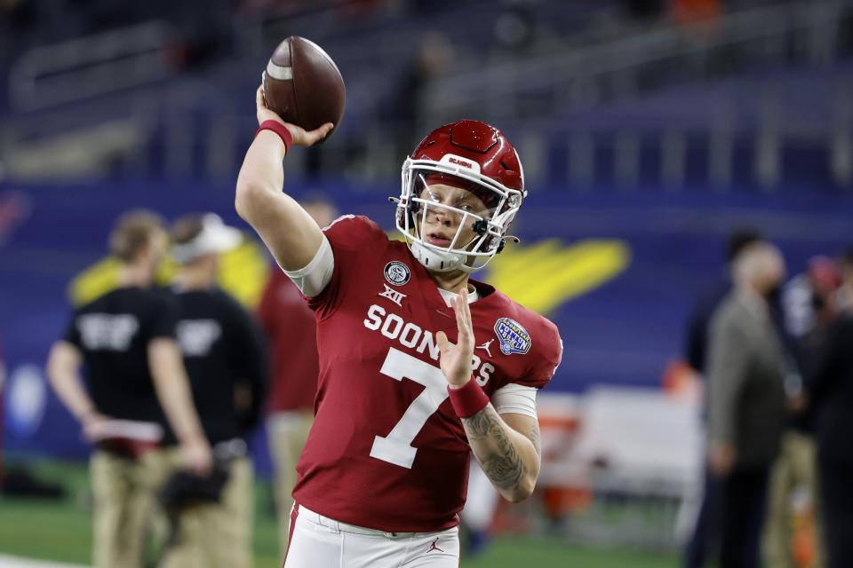 Oklahoma quarterback Spencer Rattler could be the first QB selected in 2022 if he performs more consistently. (AP Photo/Michael Ainsworth)