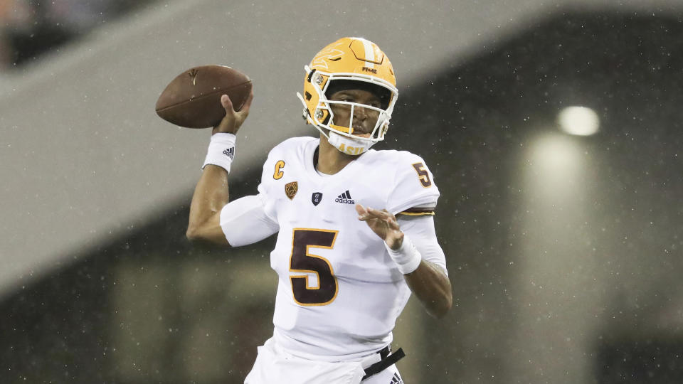 Arizona State quarterback Jayden Daniels has high-end skill the NFL will like. (AP Photo/Amanda Loman)