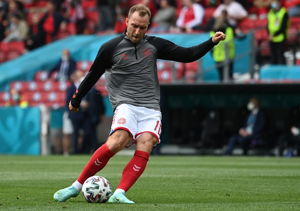 Denmark's midfielder Christian Eriksen warms up before the UEFA EURO 2020 Group B football match between Denmark and Finland at the Parken Stadium in Copenhagen on June 12, 2021. (Photo by Jonathan NACKSTRAND / various sources / AFP) (Photo by JONATHAN NACKSTRAND/AFP via Getty Images)