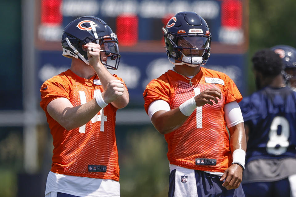 Andy Dalton (14) is the Bears' starting quarterback in Week 1, and nothing prized rookie Justin Fields does can change that. At least according to head coach Matt Nagy's plan. (Kamil Krzaczynski-USA TODAY Sports)