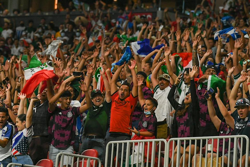 ATLANTA, GA  JUNE 12:  Fans participate in the wave during the international friendly match between Honduras and Mexico on June 12th, 2021 at Mercedes-Benz Stadium in Atlanta, GA.  (Photo by Rich von Biberstein/Icon Sportswire via Getty Images)