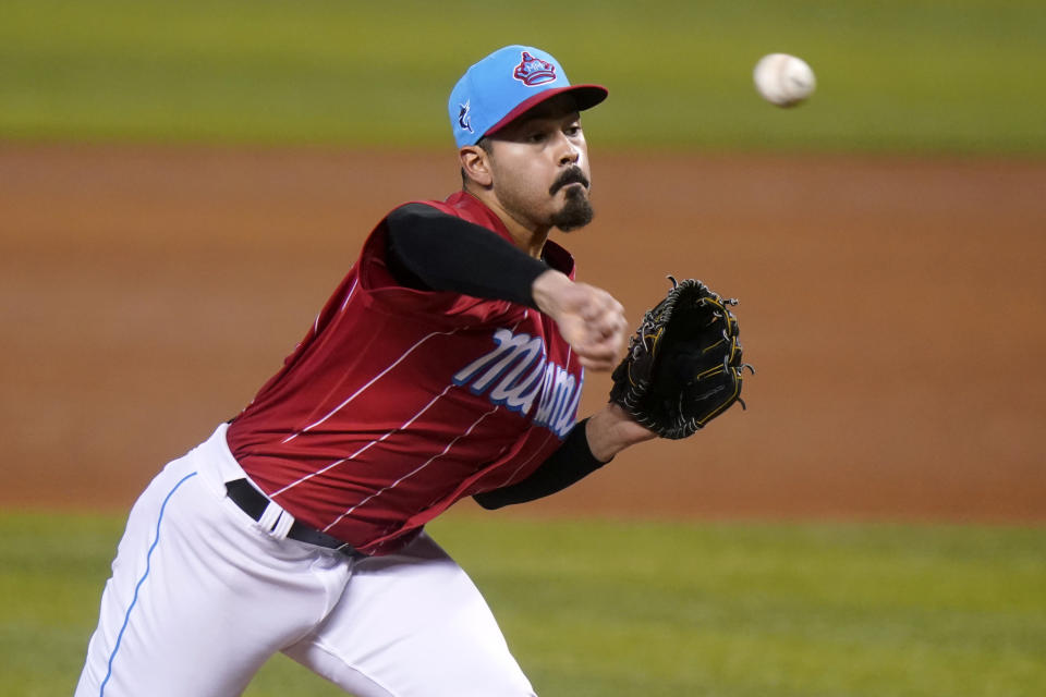 Miami Marlins starting pitcher Pablo Lopez throws during the fourth inning of a baseball game against the Atlanta Braves, Sunday, July 11, 2021, in Miami. (AP Photo/Lynne Sladky)