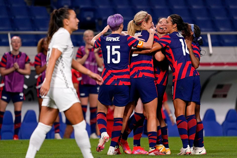 Team USA celebrates a goal by midfielder Rose Lavelle (16) during the first half against New Zealand in group G play during the Tokyo Olympics.