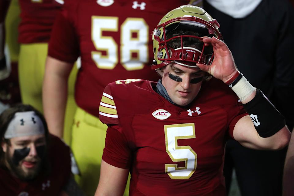 Phil Jurkovec of the Boston College Eagles looks on from the sideline during the first half against the Louisville Cardinals at Alumni Stadium on Nov. 28, 2020 in Chestnut Hill, Massachusetts. (Photo by Maddie Meyer/Getty Images)
