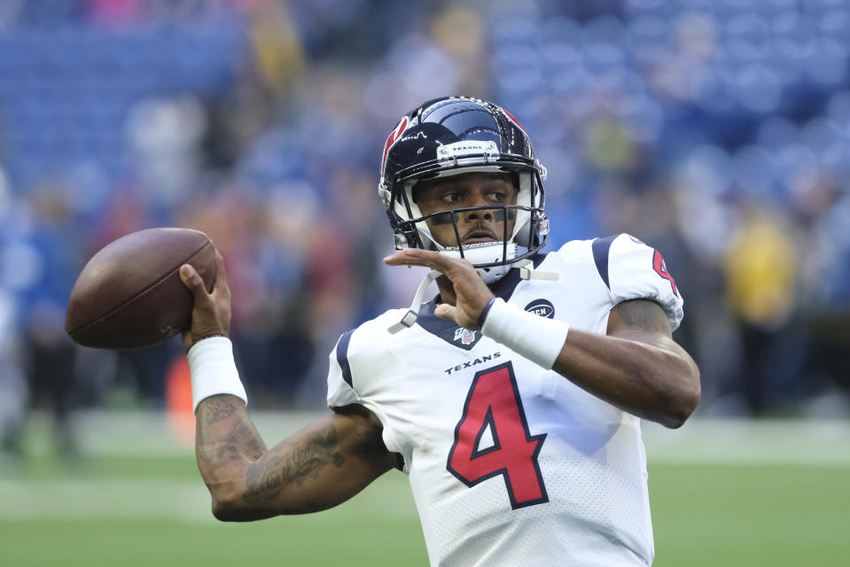Houston Texans quarterback Deshaun Watson throws before an NFL football game against the Indianapolis Colts, Sunday, Oct. 20, 2019, in Indianapolis. (AP Photo/AJ Mast)