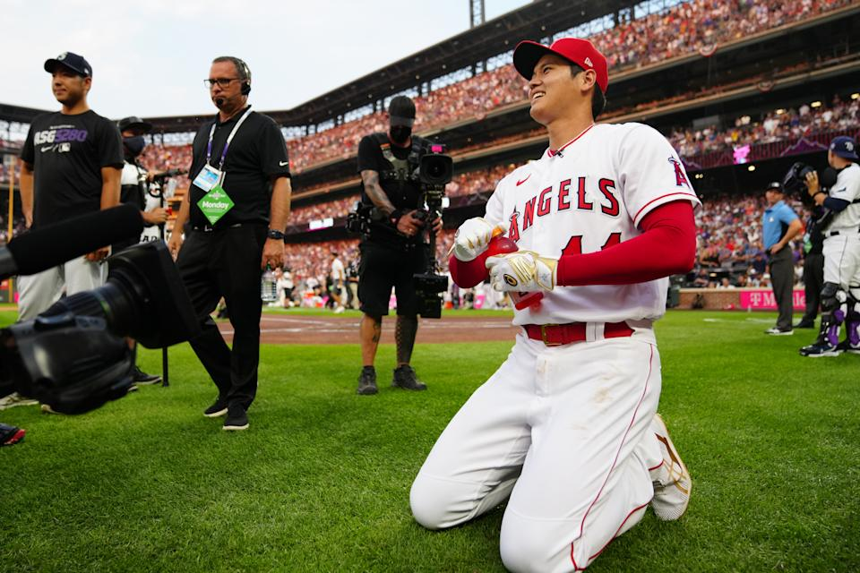 DENVER, CO - JULY 12:  Shohei Ohtani #17 of the Los Angeles Angels pauses during the 2021 T-Mobile Home Run Derby at Coors Field on Monday, July 12, 2021 in Denver, Colorado. (Photo by Daniel Shirey/MLB Photos via Getty Images)