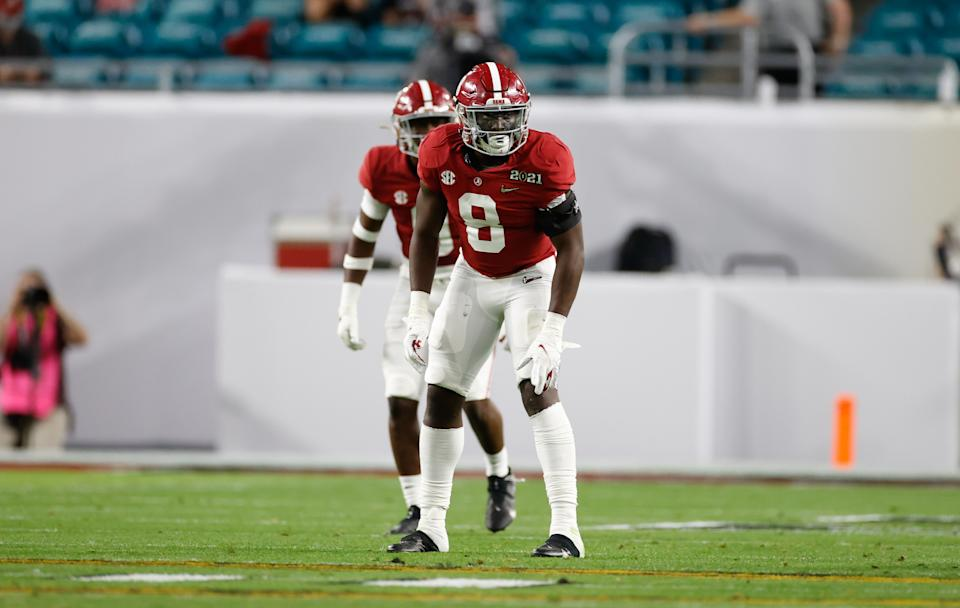 MIAMI, FL - JANUARY 11: Christian Harris #8 of the Alabama Crimson Tide awaits a play against The Ohio State Buckeyes in the College Football Playoff National Championship at Hard Rock Stadium on January 11, 2021 in Miami, Florida. (Photo by UA Athletics/Collegiate Images/Getty Images)