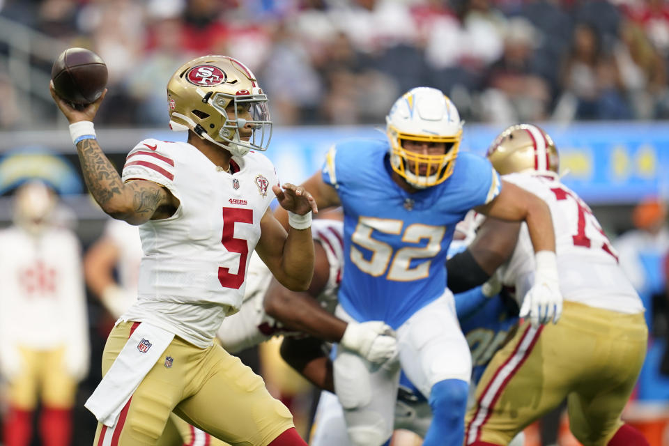 San Francisco 49ers quarterback Trey Lance (5) throws during his second preseason game. (AP Photo/Ashley Landis)
