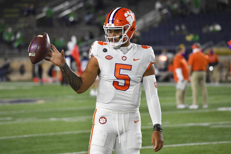 Clemson quarterback D.J. Uiagalelei (5) warms up for the team's NCAA college football game against Notre Dame on Saturday, Nov. 7, 2020, in South Bend, Ind. (Matt Cashore/Pool Photo via AP)