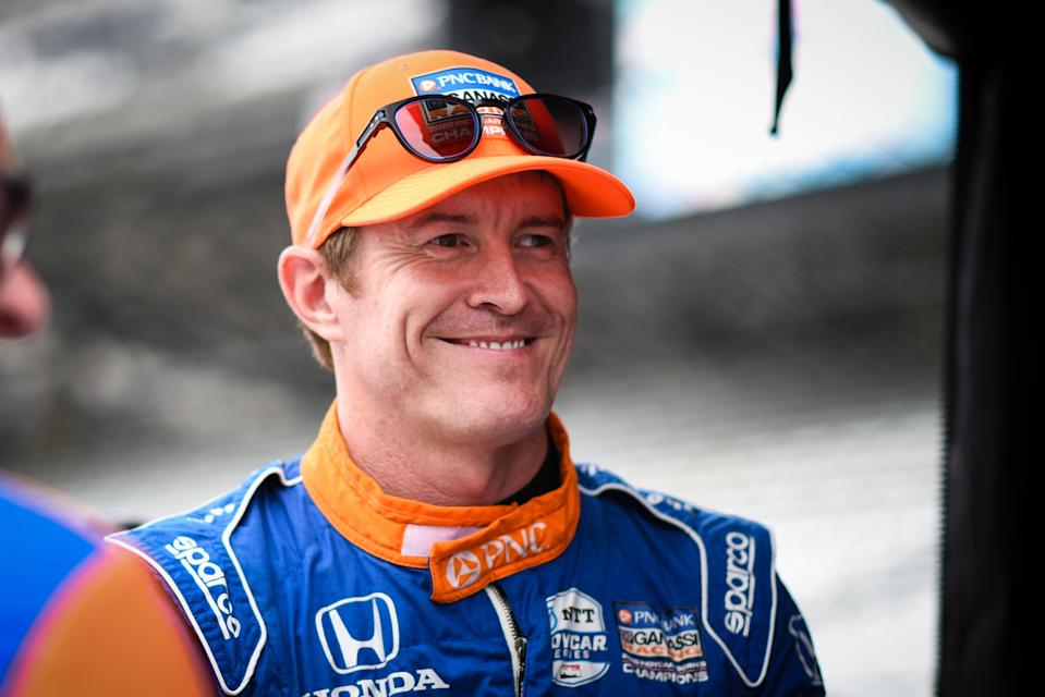 <em>Scott Dixon flashes a smile Friday at Indianapolis Motor Speedway, where the six-time IndyCar champion was happy to share the track with the NASCAR Cup and Xfinity series (James Black/IndyCar).</em>