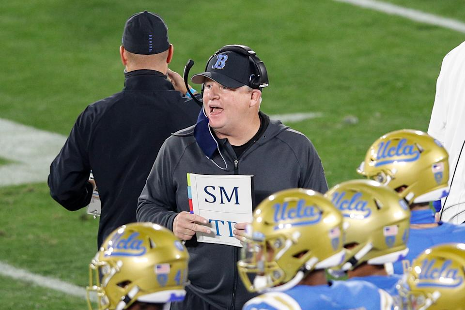 PASADENA, CA - DECEMBER 12: UCLA Bruins head coach Chip Kelly yells during USC Trojans vs UCLA Bruins football game on December 11, 2020 at the Rose Bowl in Pasadena, CA. (Photo by Jevone Moore/Icon Sportswire via Getty Images)