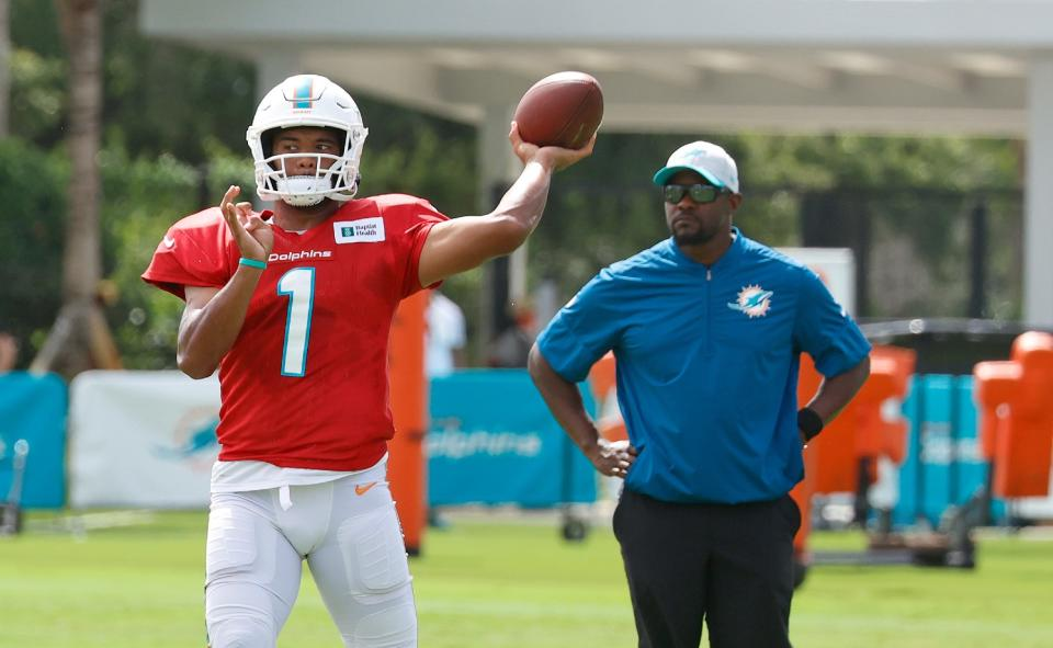 As rumors of a Deshaun Watson pursuit swirl, Tua Tagovailoa needs to prove to the Dolphins and coach Brian Flores he can anchor their franchise for years to come. (Photo by Joel Auerbach/Getty Images)