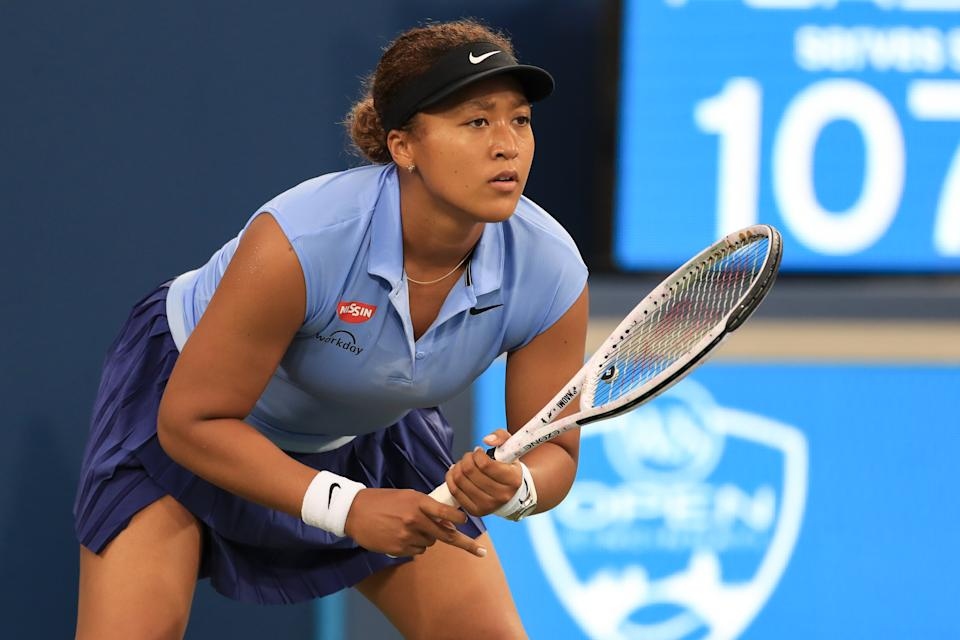 CINCINNATI, OH - AUGUST 19: Naomi Osaka of Japan waits for the serve during the Western & Southern Open at the Lindner Family Tennis Center on August 19, 2021 in Mason, Ohio. (Photo by Ian Johnson/Icon Sportswire via Getty Images)