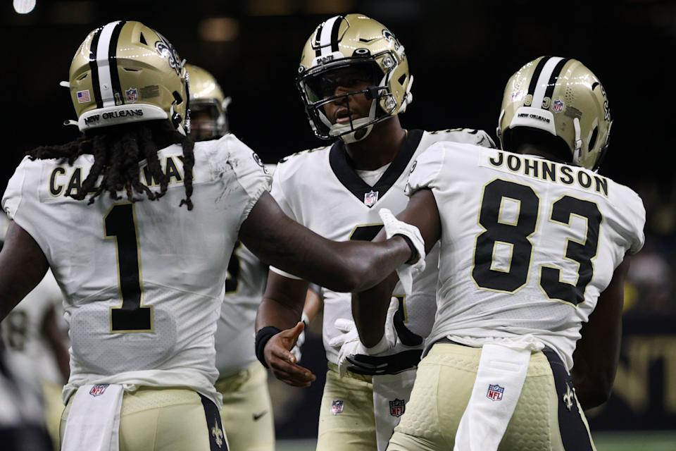 NEW ORLEANS, LOUISIANA - AUGUST 23: Marquez Callaway #1 of the New Orleans Saints celebrates after a touchdown with Jameis Winston #2 of the New Orleans Saints against the Jacksonville Jaguars at Caesars Superdome on August 23, 2021 in New Orleans, Louisiana. (Photo by Chris Graythen/Getty Images)