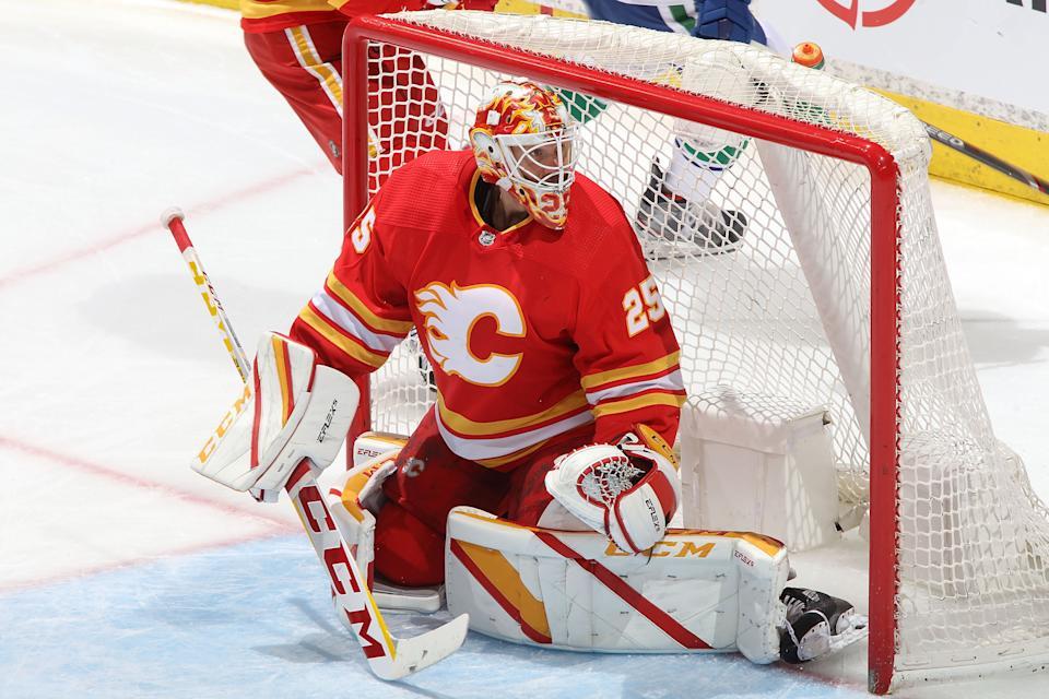 Jacob Markstrom #25 of the Calgary Flames