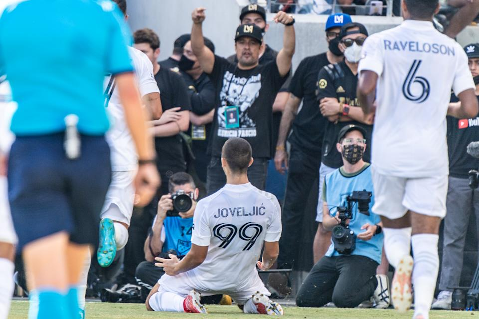 Dejan Joveljić (99) scored twice as the Galaxy left Banc of California Stadium with a point on Saturday. (Photo by Shaun Clark/Getty Images)