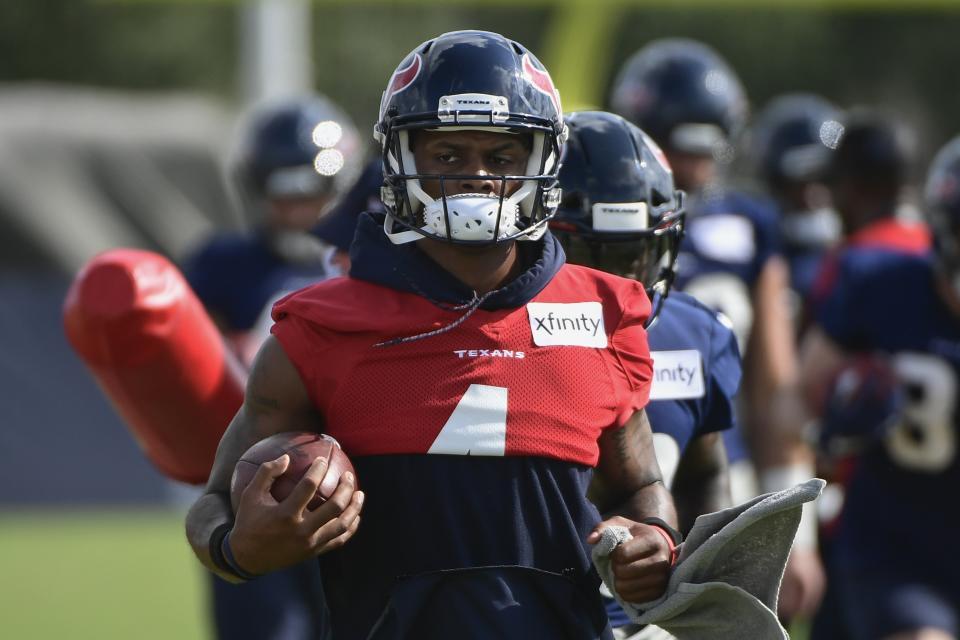 Texans quarterback Deshaun Watson (4) runs drills with the team during NFL football practice Monday, Aug. 2, 2021, in Houston. (AP Photo/Justin Rex)