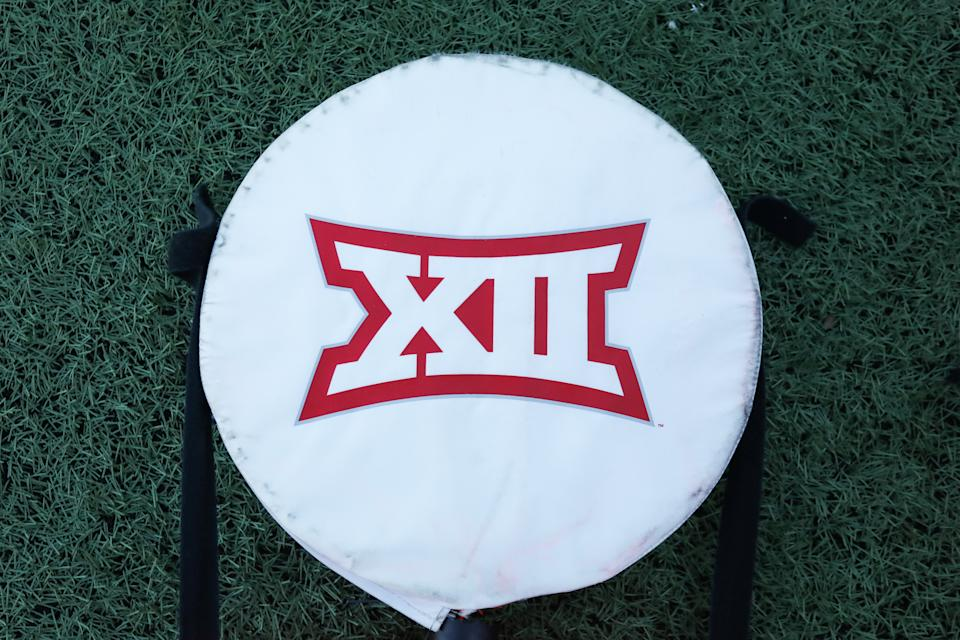 LAWRENCE, KS - OCTOBER 31: A view of the Big 12 logo before a football game between the Iowa State Cyclones and Kansas Jayhawks on October 31, 2020 at Memorial Stadium in Lawrence, KS.  (Photo by Scott Winters/Icon Sportswire via Getty Images)