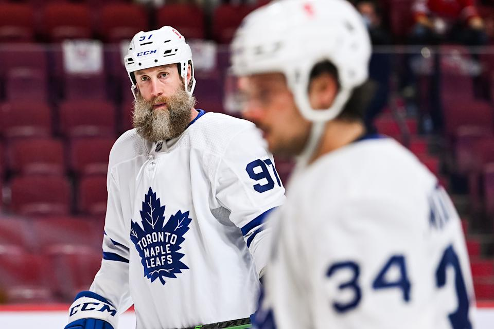 MONTREAL, QC - MAY 29: Look on Toronto Maple Leafs center Joe Thornton (97) during the NHL Stanley Cup Playoffs first round game 6 between the Toronto Maple Leafs versus the Montreal Canadiens on May 29, 2021, at Bell Centre in Montreal, QC (Photo by David Kirouac/Icon Sportswire via Getty Images)