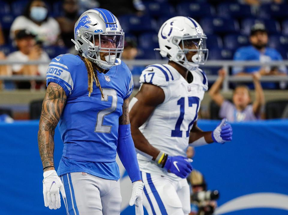 Detroit Lions cornerback Mike Ford (2) during the first half of a preseason game at Ford Field in Detroit on Friday, Aug. 27, 2021.