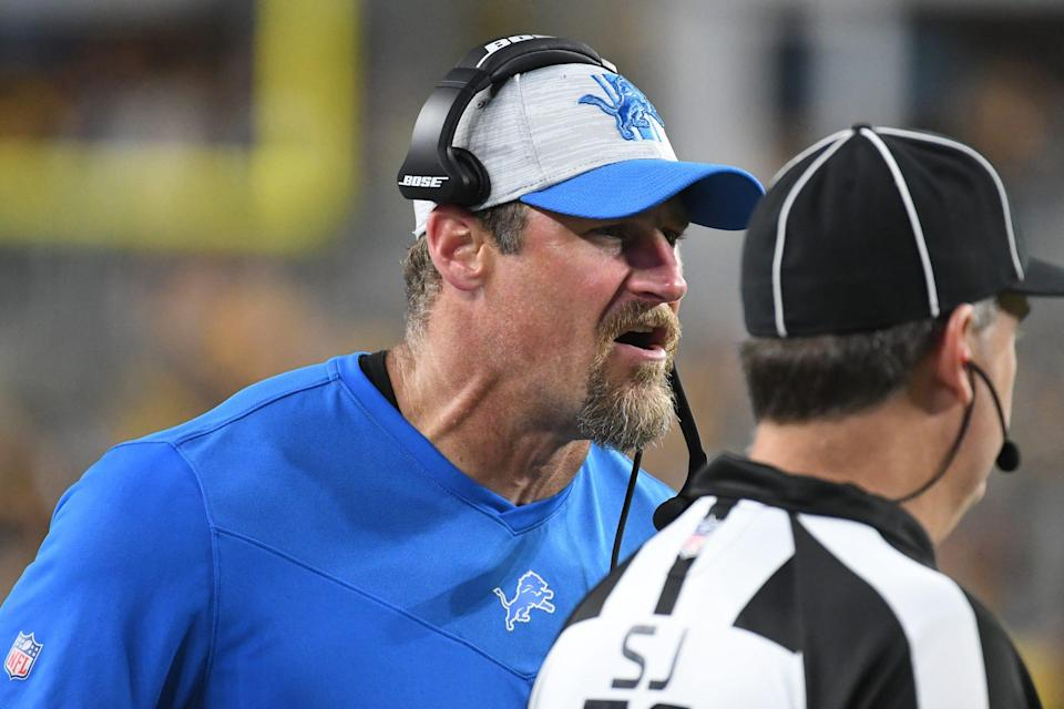 Detroit Lions head coach Dan Campbell reacts during the a preseason game against the Pittsburgh Steelers at Heinz Field on August 21, 2021.
