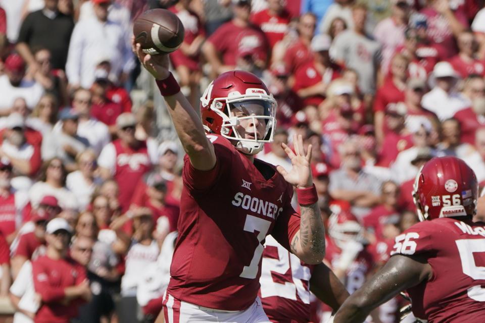 Oklahoma quarterback Spencer Rattler (7) throws during an NCAA college football game against Nebraska, Saturday, Sept. 18, 2021, in Norman, Okla. (AP Photo/Sue Ogrocki)