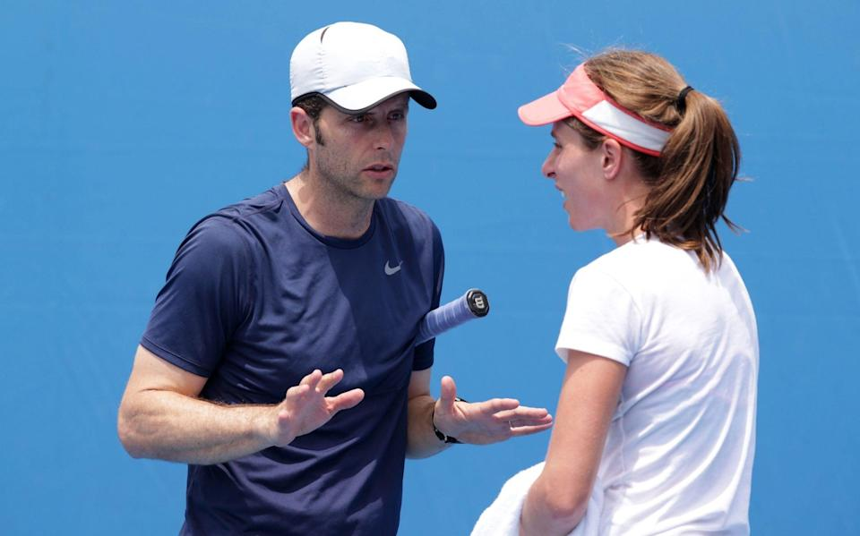 Johanna Konta of Great Britain talks with her coach Esteban Carril in her practice session during day nine of the 2016 Australian Open at Melbourne Park on January 26, 2016 in Melbourne, Australia - GETTY IMAGES