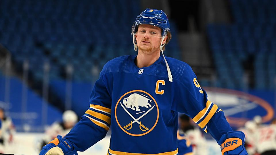 BUFFALO, NY - JANUARY 30: Jack Eichel #9 of the Buffalo Sabres warms up prior to an NHL game against the New Jersey Devils on January 30, 2021 at KeyBank Center in Buffalo, New York. (Photo by Joe Hrycych/NHLI via Getty Images)