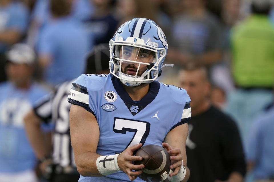 North Carolina quarterback Sam Howell was in control from the start against Virginia. (AP Photo/Gerry Broome)