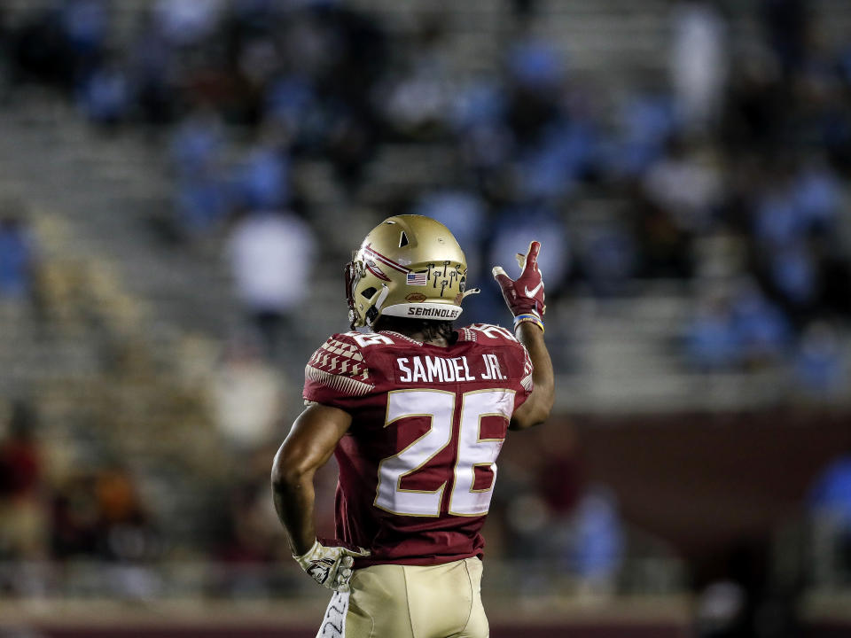 At Florida State, cornerback Asante Samuel, Jr. displayed playmaking ability but was knocked by scouts for his lack of size and overaggressiveness. (Photo by Don Juan Moore/Getty Images)