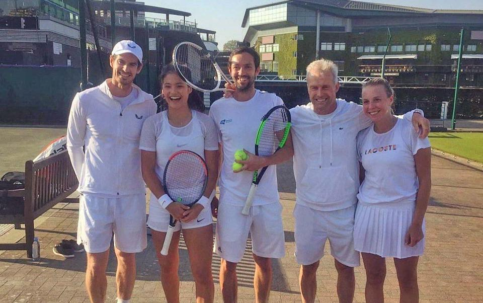 From l-r: Andy Murray, Raducanu and her then coaches Matt James and Nigel Sears and Anett Kontaveit - TIM STEWART