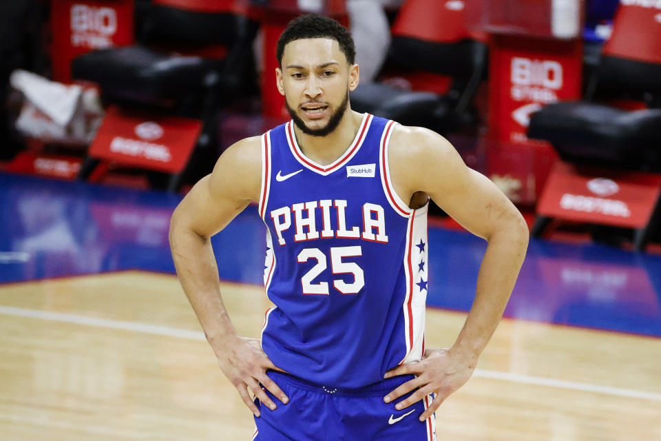 PHILADELPHIA, PENNSYLVANIA - MARCH 01: Ben Simmons #25 of the Philadelphia 76ers calls to teammates during the third quarter against the Indiana Pacers at Wells Fargo Center on March 01, 2021 in Philadelphia, Pennsylvania. NOTE TO USER: User expressly acknowledges and agrees that, by downloading and or using this photograph, User is consenting to the terms and conditions of the Getty Images License Agreement. (Photo by Tim Nwachukwu/Getty Images)