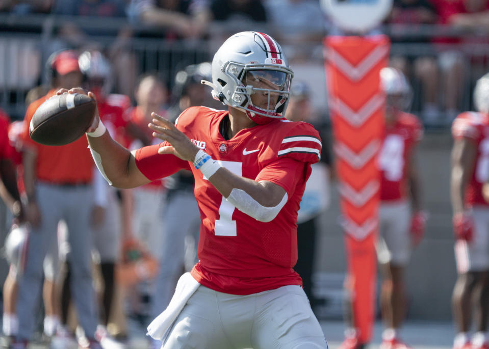 COLUMBUS, OH - SEPTEMBER 18: Quarterback C.J. Stroud #7 of the Ohio State Buckeyes passes the ball during the game between the Ohio State Buckeyes and the Tulsa Golden Hurricane at Ohio Stadium in Columbus, Ohio on September 18, 2021. (Photo by Jason Mowry/Icon Sportswire via Getty Images)