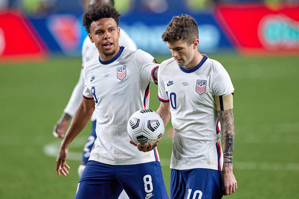 Weston McKennie and Christian Pulisic will have to wait at least another month to play in a World Cup qualifier together. (Photo by Robin Alam/Icon Sportswire via Getty Images)