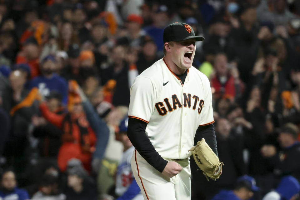 San Francisco, CA - October 08: San Francisco Giants starting pitcher Logan Webb reacts after striking out Los Angeles Dodgers' Cody Bellinger during the seventh inning at Oracle Park on Friday, Oct. 8, 2021 in San Francisco, CA. (Robert Gauthier / Los Angeles Times via Getty Images)