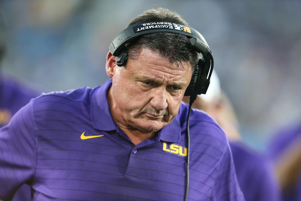 LSU Tigers coach Ed Orgeron during the college football game between the LSU Tigers and the UCLA Bruins on Sept. 04. (Jevone Moore/Icon Sportswire via Getty Images)
