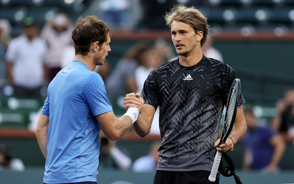 Andy Murray and Alexander Zverev at the net after their match - Clive Brunskill/Getty Images