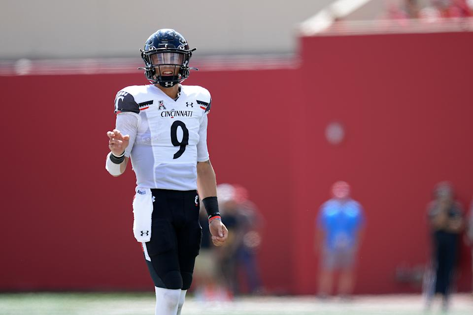 Cincinnati QB Desmond Ridder has a tremendous opportunity at Notre Dame on Saturday. (Photo by Michael Allio/Icon Sportswire via Getty Images)