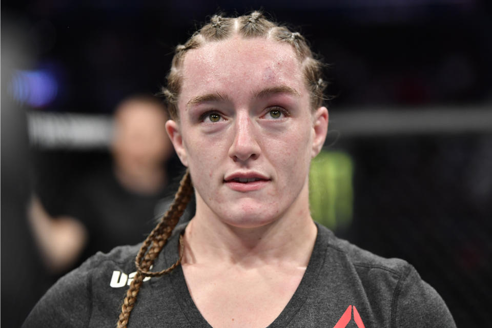 WASHINGTON, DC - DECEMBER 07: Aspen Ladd celebrates her TKO victory over Yana Kunitskaya of Russia in their women's bantamweight bout during the UFC Fight Night event at Capital One Arena on December 07, 2019 in Washington, DC. (Photo by Jeff Bottari/Zuffa LLC via Getty Images)