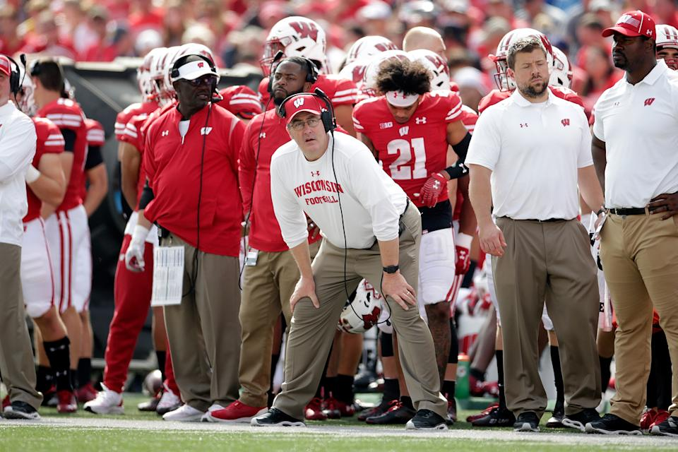 MADISON, WISCONSIN - OCTOBER 02: Wisconsin Badgers head coach Paul Chryst looks on in the fourth quarter against the Michigan Wolverines at Camp Randall Stadium on October 02, 2021 in Madison, Wisconsin. (Photo by John Fisher/Getty Images)