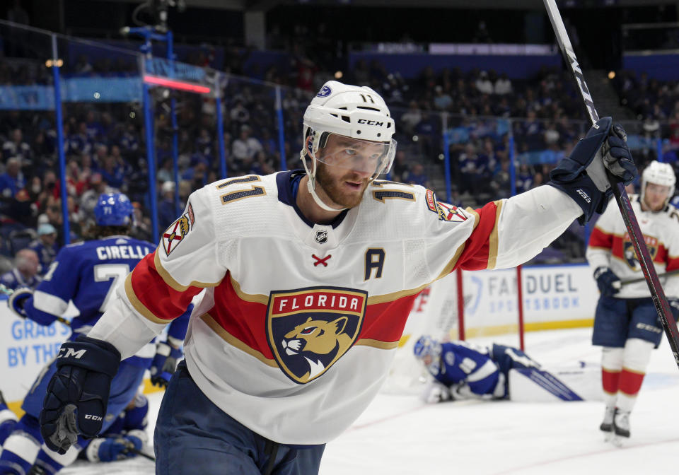 TAMPA, FL - MAY 22: Florida Panthers left wing Jonathan Huberdeau (11) scores a goal for the Florida Panthers during the NHL Hockey Stanley Cup playoff match between the Tampa Bay Lightning and Florida Panthers on May 22, 2021 at Amalie Arena in Tampa, FL. (Photo by Andrew Bershaw/Icon Sportswire via Getty Images)