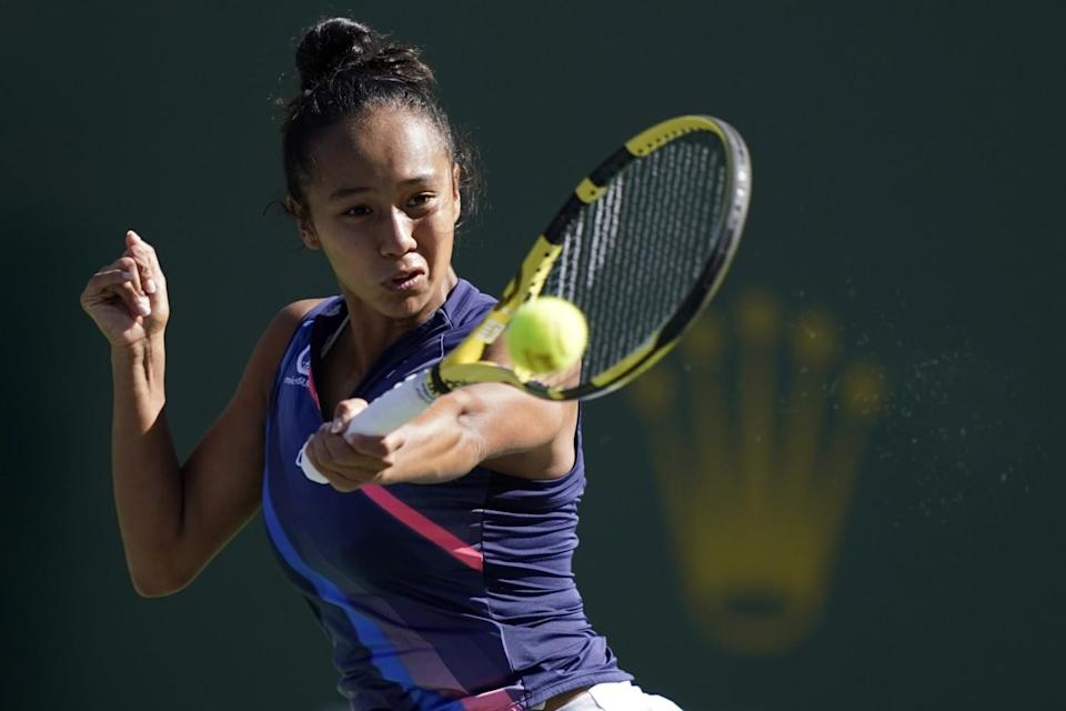 Leylah Fernandez competes at Indian Wells on Tuesday.
